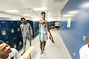 THOUSAND OAKS, CA Sunday, August 12, 2018 - Nike Basketball Academy. Trayce Jackson-Davis 2019 #18 of Center Grove HS poses for a photo in the locker room. <br /> NOTE TO USER: Mandatory Copyright Notice: Photo by Jon Lopez / Nike