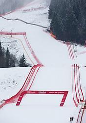 22.01.2014, Sporthotel Reisch, Kitzbuehel, AUT, FIS Ski Weltcup, Weisswurstfruehstueck, Alpenralley 2014, im Bild der Zweite Trainingslauf zur Herrenabfahrt aufgrund der Wettersituation abgesagt. Uebersicht auf das Zielgelande und Hausberg // Overview of Finish area and Hausberg. The second practice run of the mens downhill was canceled due to weather conditions during the Kitzbuehel FIS Ski Alpine World Cup at the Streif course in Kitzbuehel, Austria on 2014/01/22. EXPA Pictures © 2014, PhotoCredit: EXPA/ Johann Groder