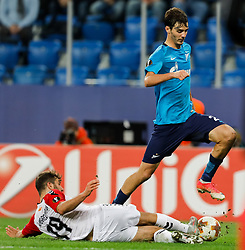 November 23, 2017 - Saint Petersburg, Russia - Aleksandr Erokhin (R) of FC Zenit Saint Petersburg and Hovhannes Hambartsumyan of FK Vardar vie for the ball during the UEFA Europa League Group L match between FC Zenit St. Petersburg and FK Vardar at Saint Petersburg Stadium on November 23, 2017 in Saint Petersburg, Russia. (Credit Image: © Mike Kireev/NurPhoto via ZUMA Press)