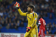 Dimi Konstantopoulos , the Middlesbrough goalkeeper looks on.Skybet football league championship match, Cardiff city v Middlesbrough at the Cardiff city stadium in Cardiff, South Wales on Tuesday 16th Sept 2014<br /> pic by Andrew Orchard, Andrew Orchard sports photography.