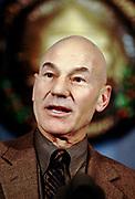 English actor Sir Patrick Stewart, speaks at the National Press Club December 4, 1997 in Washington, D.C.