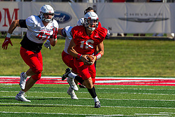 NORMAL, IL - August 14: Tommy Rittenhouse  during a college football pre-season scrimmage of the  ISU (Illinois State University) Redbirds August 14 2021 at Hancock Stadium in Normal, IL. (Photo by Alan Look)