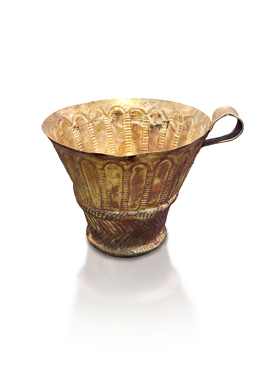 Mycenaean gold cup with arches decoration, Grave V, Grave Circle A Mycenae, Greece. National Archaeological Museum of Athens. White background.<br /> <br /> An elegant precious gold cup hammered from thick gold to created a simple elegant design. This Mycenaean gold cup demonstrates how advance Mycenaean metalworking was in the 16th century BC. The value of the cup would have been extermely high so must have graced the table of a Mycenaean noble perhaps even a v king. .<br /> <br /> If you prefer to buy from our ALAMY PHOTO LIBRARY  Collection visit : https://www.alamy.com/portfolio/paul-williams-funkystock/mycenaean-art-artefacts.html . Type -   Athens    - into the LOWER SEARCH WITHIN GALLERY box. Refine search by adding background colour, place, museum etc<br /> <br /> Visit our MYCENAEN ART PHOTO COLLECTIONS for more photos to download  as wall art prints https://funkystock.photoshelter.com/gallery-collection/Pictures-Images-of-Ancient-Mycenaean-Art-Artefacts-Archaeology-Sites/C0000xRC5WLQcbhQ