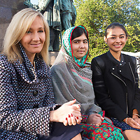 """J.K. Rowling, Malala Yousafzai & Nelufar Hedayat at Edinburgh International Book Festival 2014 <br /> Malala Yousafzai addresses UK teens as she launches: MALALA: THE GIRL WHO STOOD UP FOR EDUCATION AND CHANGED THE WORLD at the Edinburgh International Book Festival, introduced by J.K. Rowling and chaired by Nelufar Hedayet<br /> <br /> MALALA was introduced to the sellout Scottish schools audience of 600 teens by J.K. Rowling,  who said of the event:<br /> """"Malala is an inspiration to girls and women all over the world. It is a real honour for me to introduce her at the Edinburgh International Book Festival.""""<br /> <br /> Malala said, in closing the event: """"If we want to see the next big change (of every child going to school) we need to become the change ourselves and bring the change.""""<br /> 25th August 2014<br /> <br /> Picture by Alan McCredie/EIBF/Writer Pictures<br /> <br /> WORLD RIGHTS - WORLD EXCLUSIVE"""