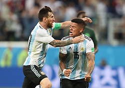 SAINT PETERSBURG, June 26, 2018  Marcos Rojo (R) of Argentina celebrates scoring with Lionel Messi during the 2018 FIFA World Cup Group D match between Nigeria and Argentina in Saint Petersburg, Russia, June 26, 2018. Argentina won 2-1 and advanced to the round of 16. (Credit Image: © Yang Lei/Xinhua via ZUMA Wire)