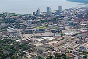 Aerial photograph of Milwaukee, Wisconsin on an overcast summer day.