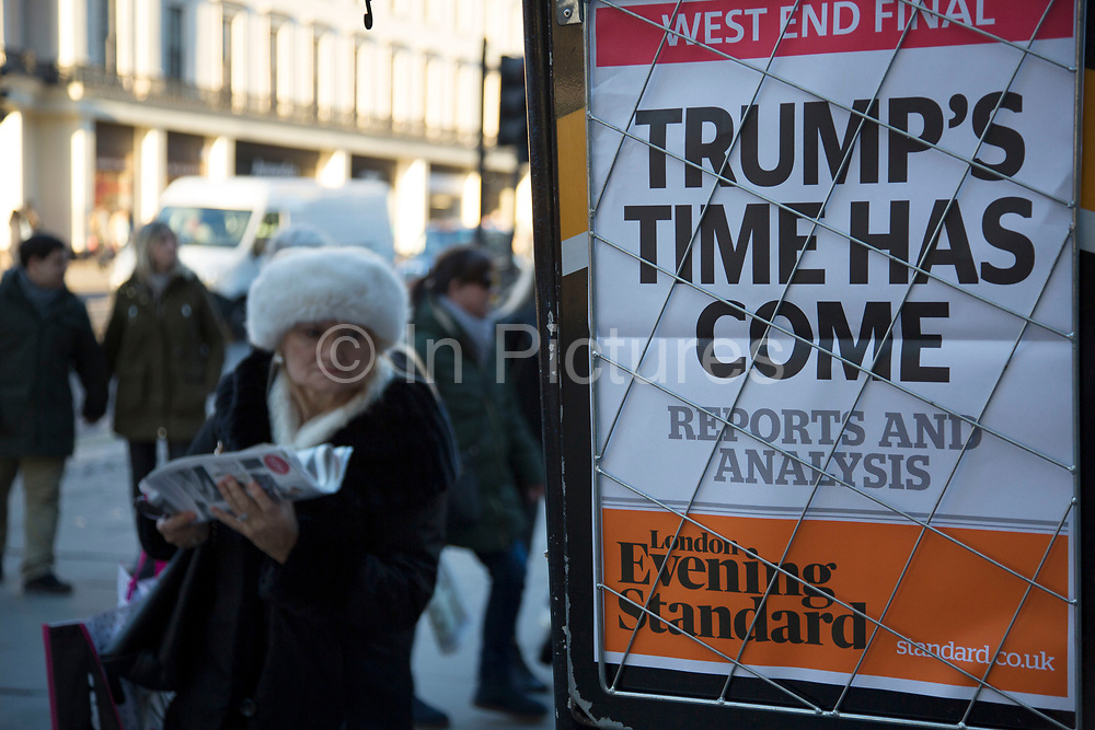 As the 45th US President is inaugurated in the USA, the headline on the Evening Standard newspaper reads Trumps time has come on 20th January 2017 in London, England, United Kingdom. President Donald Trump takes over as Commander in Chief on this day, and is one of the greatest upsets and shocks in political news history.