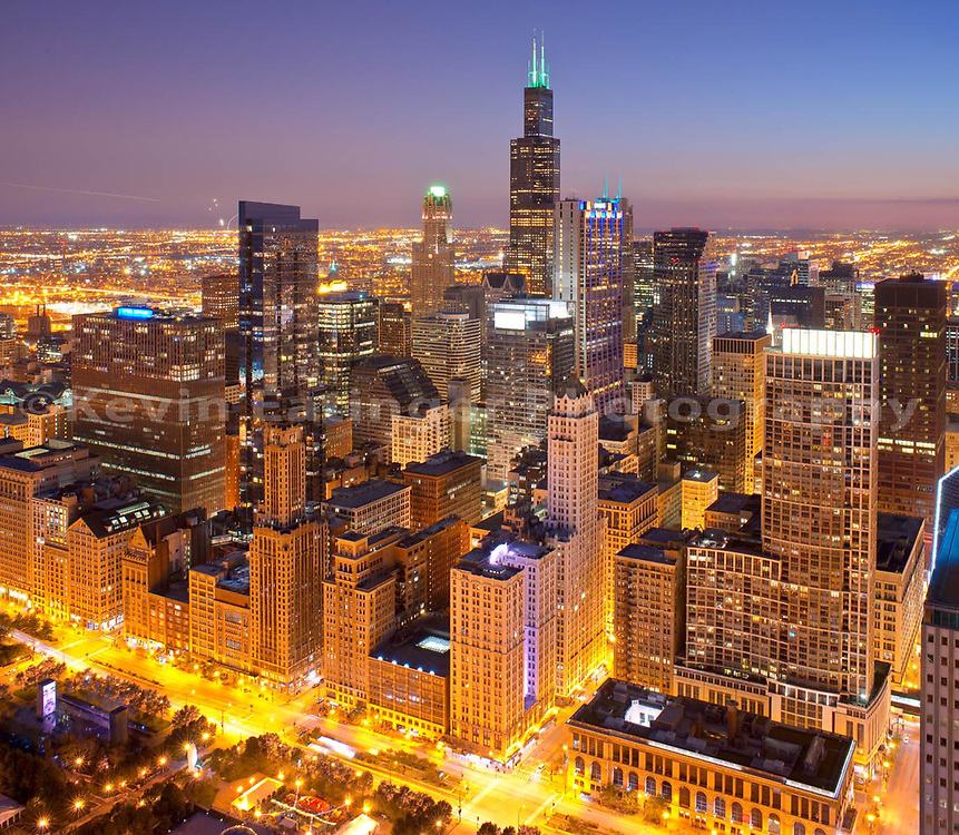 Chicago, evening/night skyline from aloft. Thanks to the Blue Cross and Blue Shield of Illinois Building! Exterior Architectural Photography. Buildings, locations, architecture. Chicago, Illinois, built landscape,