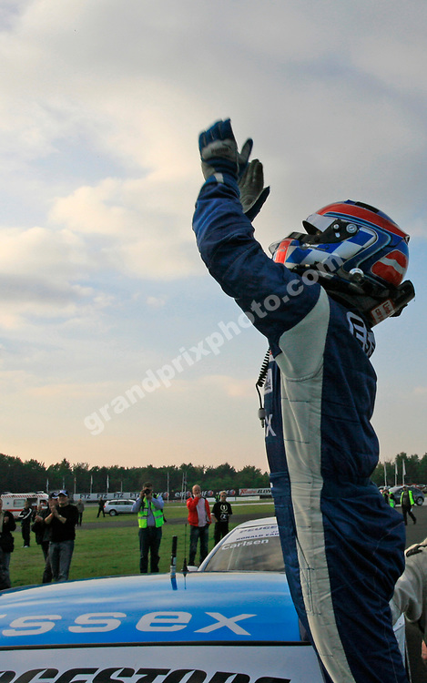 Team Essex BMW driver Casper Elgaard celebrates winning the 2006 title at the 2006 DTC finale at Jyllands-Ringen in October. Photo: Grand Prix Photo