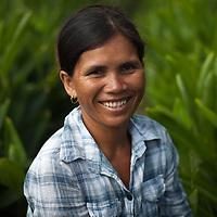 A Cambodian farmer in her field