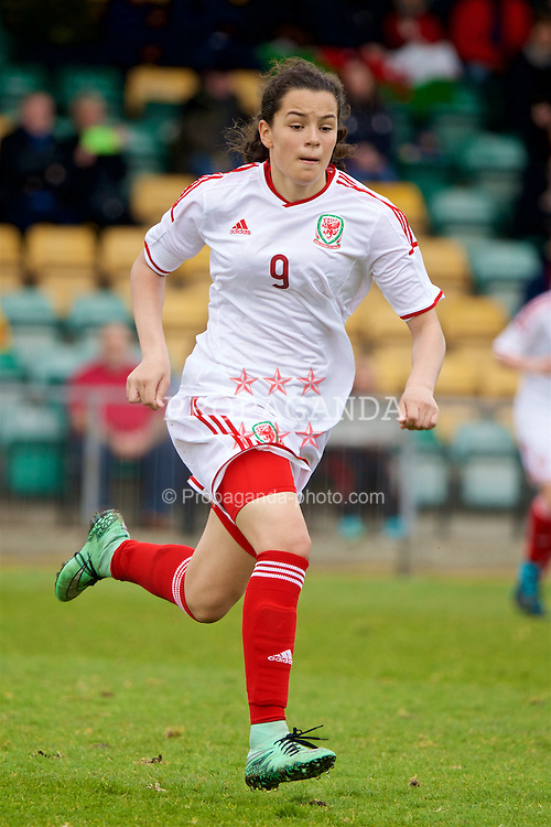 NEWPORT, WALES - Monday, April 4, 2016: Wales' Grace Horrell in action against Scotland during Day 4 of the Bob Docherty International Tournament 2016 match at Newport Stadium. (Pic by David Rawcliffe/Propaganda)
