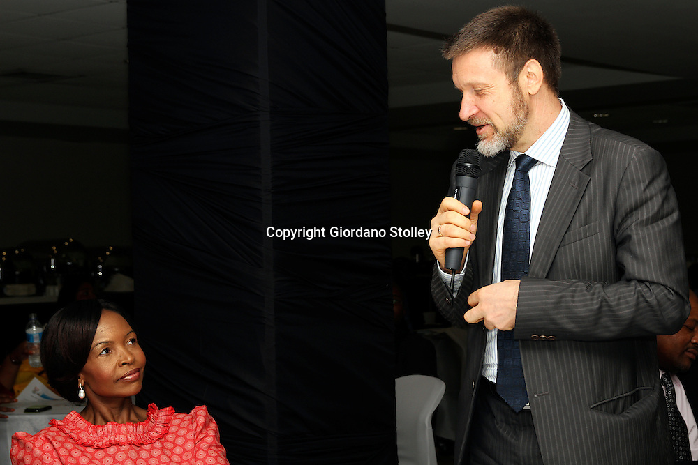 DURBAN - 5 March 2013 - Russia's ambassador to South Africa Mikhail Petrakov speaks at an event to promote the upcoming 5th Brics summit to be held in Durban later in March as South Africa's International Relations and Cooperation minister Maite Nkoana-Mashabane looks on. Brics is an economic bloc representing five of the world's leading emerging economies, namely Brazil, Russia, India, China and South Africa. *** This picture is also available on Alamy Images at www.alamy.com ***.Picture: Giordano Stolley
