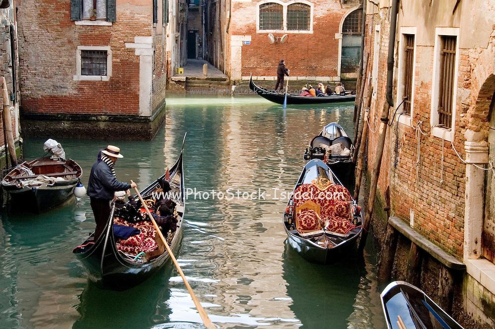 Italy, Venice, Gondolas on a Canal