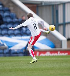Falkirk's Blair Alston slips up for faith's second goal. <br /> Raith Rovers 2 v 2 Falkirk, Scottish Championship game played 23/4/2016 at Stark's Park.