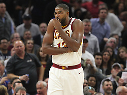 October 17, 2017 - Cleveland, OH, USA - The Cleveland Cavaliers' Tristan Thompson reacts to an injury sustained by the Boston Celtics' Gordon Hayward in the first quarter on Tuesday, Oct. 17, 2017, at Quicken Loans Arena in Cleveland. (Credit Image: © Leah Klafczynski/TNS via ZUMA Wire)