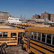 School buses in Coney Island