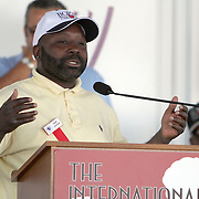 """Inductee Mark """"Too Sharp"""" Johnson addresses the crowd during the 23rd Annual induction weekend opening ceremony at the International Boxing Hall of Fame on Thursday, June 7, 2012 in Canastota, NY. (AP Photo/Alex Menendez)"""