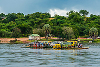 Paraa car ferry across the Nile River, Murchison Falls National Park, Uganda.