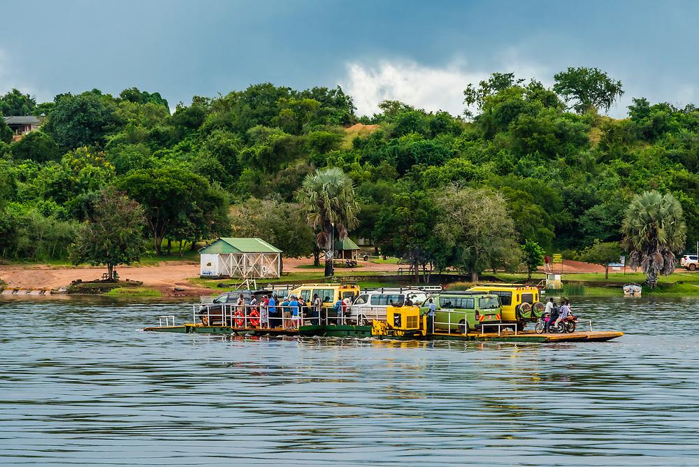 Paraa car ferry across the Nile River, Murchison Falls National Park, Uganda.