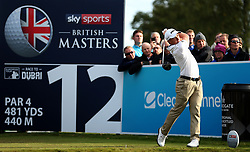 Paul Dunne on the 12th during day two of the British Masters at Walton Heath Golf Club, Surrey.