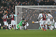 Michail Antonio of West Ham United has a clear shot at goal cleared off the line. league match, West Ham Utd v West Bromwich Albion at the London Stadium, Queen Elizabeth Olympic Park in London on Saturday 11th February 2017.<br /> pic by John Patrick Fletcher, Andrew Orchard sports photography.