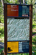 Trail sign and map, Tuolumne Meadows, Yosemite National Park, California USA