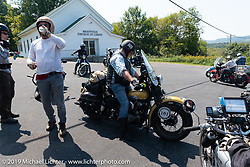 Kansan Terry Richardson pulls in at the roadside checkpoint on his 1946 Harley-Davidson FL Knucklehead during the Cross Country Chase motorcycle endurance run from Sault Sainte Marie, MI to Key West, FL (for vintage bikes from 1930-1948). Stage 5 had riders cover 213 miles from Bowling Green, KY to Chatanooga, TN USA. Tuesday, September 10, 2019. Photography ©2019 Michael Lichter.