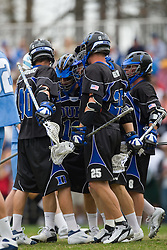 15 March 2008: Duke Blue Devils men's lacrosse attackman Matt Danowski (40), midfielder Brad Ross (10), midfielder Zack Greer (25) and attackman Max Quinzani (8) in a 19-9 win over the North Carolina Tar Heels at Koskinen Stadium in Durham, NC