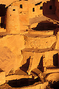 Evening light on detail of Cliff Palace Ruin, Mesa Verde National Park, Colorado USA