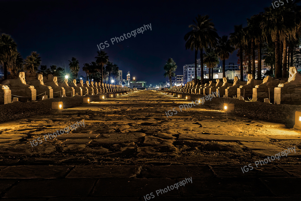 An avenue of human headed sphinxes connecting the temples of Karnak and Luxor