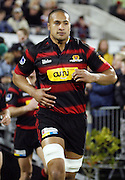 Canterbury No.8 Mose Tuiali'i runs onto the field during the Air New Zealand Cup week 4 Ranfurly Shield match between Canterbury and Southland on Friday August 18, 2006 at Jade Stadium in Christchurch, New Zealand. Canterbury won the game 24-7. Photo: Jim Helsel/Photosport