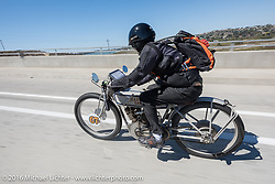 Harley-Davidson Museum Archive Restorer/Conservator Bill Rodencal of Wisconsin on his 1915 Harley-Davidson on the last day of the Motorcycle Cannonball Race of the Century. Stage-15 ride from Palm Desert, CA to Carlsbad, CA. USA. Sunday September 25, 2016. Photography ©2016 Michael Lichter.