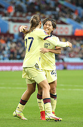 Arsenal's Mana Iwabuchi (right) celebrates with Tobin Heath (left) after scoring her sides second goal of the game during the FA Women's Super League match at Villa Park, Birmingham. Picture date: Saturday October 2, 2021.