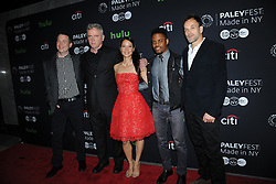 October 8, 2016 - New York, NY, USA - October 8, 2016  New York City..Rob Doherty, Aidan Quinn, Lucy Liu, Jon Michael Hill, Jonny Lee Miller attending The Paley Center for Media presents PaleyFest: Made in NY with the cast of 'Elementary' on October 8, 2016 in New York City. (Credit Image: © Callahan/Ace Pictures via ZUMA Press)