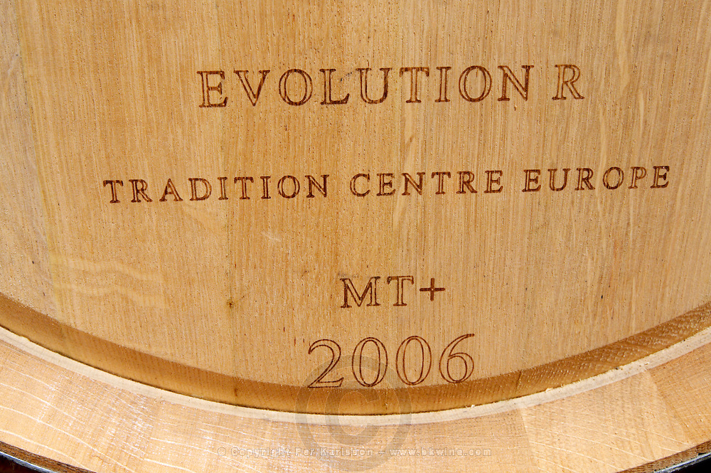 barrel with stamp evolution r chateau reysson haut medoc bordeaux france