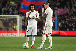 February 6, 2019 - Barcelona, BARCELONA, Spain - Marcelo and Kroos of Real Madrid in action during Spanish King championship, football match between Barcelona and Real Madrid, February 06th, in Camp Nou Stadium in Barcelona, Spain. (Credit Image: © AFP7 via ZUMA Wire)