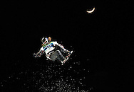 United States' Shaun White performs in the men's halfpipe snowboard final at the 2010 Winter Olympics at Cypress Mountain in West Vancouver, Canada on February 17, 2010. White won a gold medal.  (UPI)