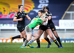 Heather Cowell of Harlequins attempts a tackle on Garnet Mackinder of Exeter Chiefs - Mandatory by-line: Andy Watts/JMP - 06/02/2021 - Sandy Park - Exeter, England - Exeter Chiefs Women v Harlequins Women - Allianz Premier 15s