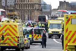 © Licensed to London News Pictures. 22/03/2017. London, UK. Emergency services on Westminster Bridge after a man ran down a number of pedestrians before entering Westminster Palace. Police are treating the incident as a terrorist attack. Photo credit: LNP