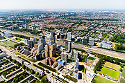 Nederland, Noord-Holland, Amsterdam-Zuid, 29-06-2018; Overzicht Zuid-as vanuit Buitenveldert met zicht op de projecten Amsterdam Symphony, Mahler4 en Gershwin. Kantoren en appartementen-complexen.<br /> Overview 'South-axis', financial district<br /> luchtfoto (toeslag op standard tarieven);<br /> aerial photo (additional fee required);<br /> copyright foto/photo Siebe Swart