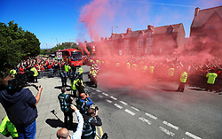 The Liverpool team bus arrives for the Premier League match at Anfield, Liverpool.