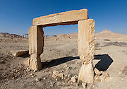 Doorway with carved inscription in the ruins at Palmyra, Syria. Ancient city in the desert that fell into disuse after the 16th century.