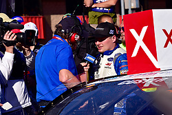 March 16, 2019 - Fontana, California, U.S. - FONTANA, CA - MARCH 16: Winner of the race Cole Custer (00) Thompson Pipe/Haas Automation Ford is interviewed in Victory Lane  at the NASCAR Xfinity Series  race on March 16, 2019 at Auto Club Speedway in Fontana, CA.  (Photo by Lyle Setter/Icon Sportswire) (Credit Image: © Lyle Setter/Icon SMI via ZUMA Press)