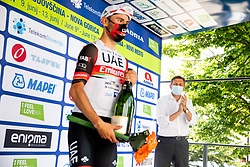 Stage winner Diego ULISSI of UAE TEAM EMIRATES and Borut Pahor, president of Slovenia at trophy ceremony after the 4th Stage of 27th Tour of Slovenia 2021 cycling race between Ajdovscina and Nova Gorica (164,1 km), on June 12, 2021 in Slovenia. Photo by Vid Ponikvar / Sportida