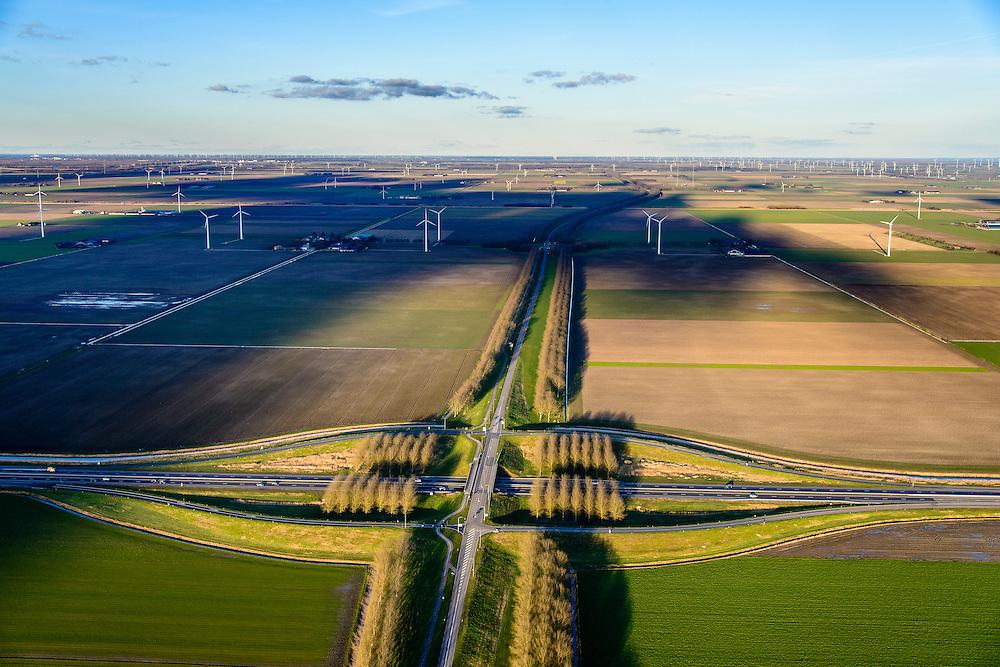 Nederland, Flevoland, 28-02-2016; Provinciale weg 706, Vogelweg. Kruising met A27.<br /> De beplanting van de Vogelweg is een voorbeeld van de landschapsarchitectuur van Flevoland.<br /> Vogelweg, example of landscape architecture in the new polder Flevoland.<br /> <br /> luchtfoto (toeslag op standard tarieven);<br /> aerial photo (additional fee required);<br /> copyright foto/photo Siebe Swart