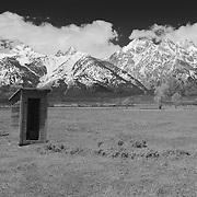 Mormon Row Outhouse - Grand Tetons, WY - Infrared Black & White