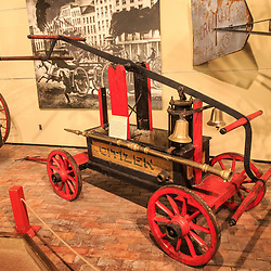 An early hand pumper firefighting apparatus is on display at the Pennsylvania State Museum in Harrisburg.