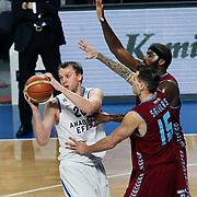Anadolu Efes's Dusko Savanovic (L) during their Turkish Basketball League match Anadolu Efes between Trabzonspor at Sinan Erdem Arena in Istanbul, Turkey, Saturday, December 10, 2011. Photo by TURKPIX