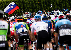 Slovenian flag during 1st Stage of 27th Tour of Slovenia 2021 cycling race between Ptuj and Rogaska Slatina (151,5 km), on June 9, 2021 in Slovenia. Photo by Vid Ponikvar / Sportida