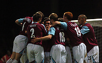 Photo: Tony Oudot.<br /> West Ham United v Chelsea. The Barclays Premiership. 18/04/2007.<br /> West Ham celebrate Carlos Tevez equalizer